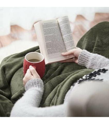 Flannel Throw Blanket Lightweight Olive Twin