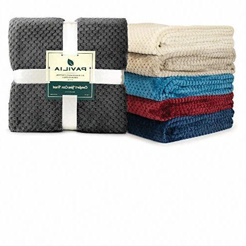 PAVILIA Premium Throw Blanket Couch Wine Maroon Waffle Soft Throw Warm Microfiber | All Season | 50 x 60