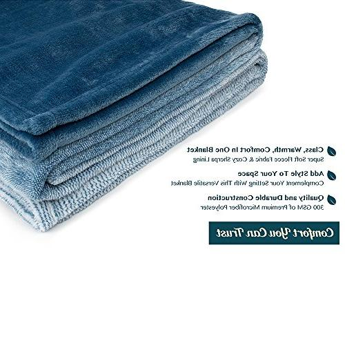 PAVILIA Flannel Throw Soft Microfiber Blanket Throw Bed | All Use | x 60 Inches Blue