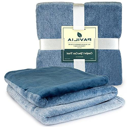 PAVILIA Fleece Luxury Throw Blanket | Lightweight Soft Blanket Decorative Throw Bed All Use | x 60 Inches