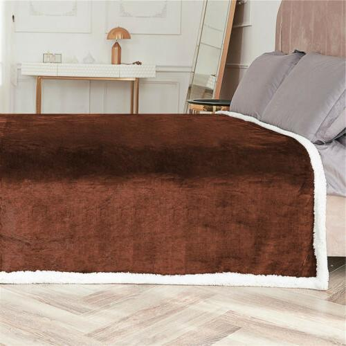 Flannel Fleece Sherpa Blanket Twin Soft Sofa Rug