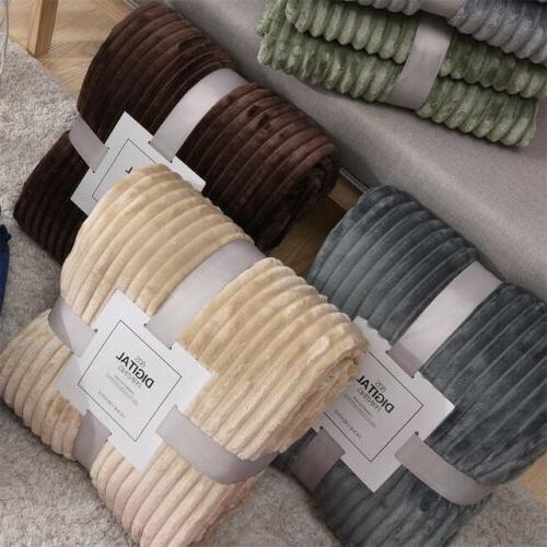 Flannel Fleece Throw Blanket Reversible Faux Fur Ultra Soft