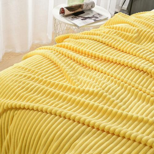 Flannel Fleece Throw Reversible Fur Soft Decor