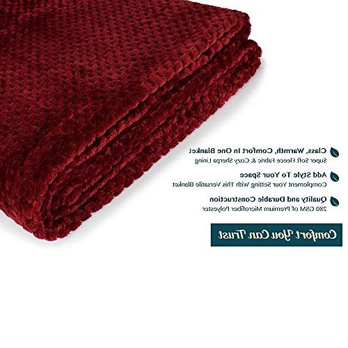 PAVILIA Premium Throw Blanket Couch Maroon Waffle Throw | Warm Microfiber Lightweight, Season | 50 x 60