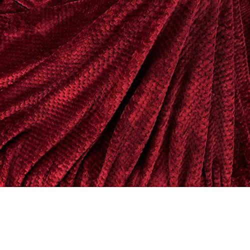 PAVILIA Premium Flannel Throw Blanket Couch Wine Waffle Soft Fuzzy Throw Warm Cozy Microfiber | All Season Use x