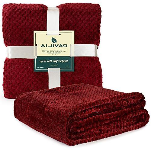PAVILIA Premium Throw Blanket Couch Waffle Throw Warm Microfiber Lightweight, All Season 50 x Inches