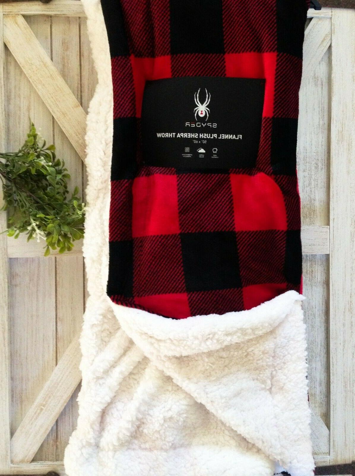 flannel throw blanket red black plaid sherpa