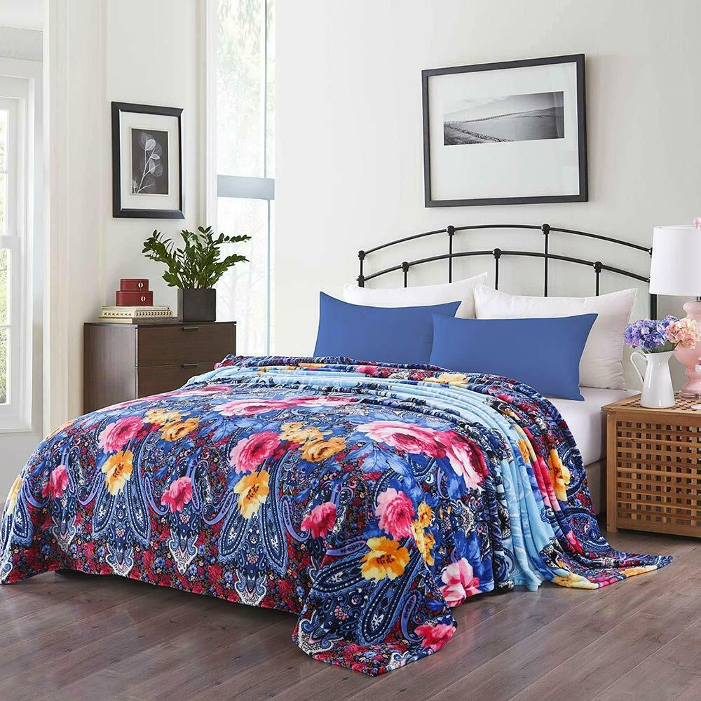 Flower Printed Blanket Throw Soft Fleece Throw Blanket Super