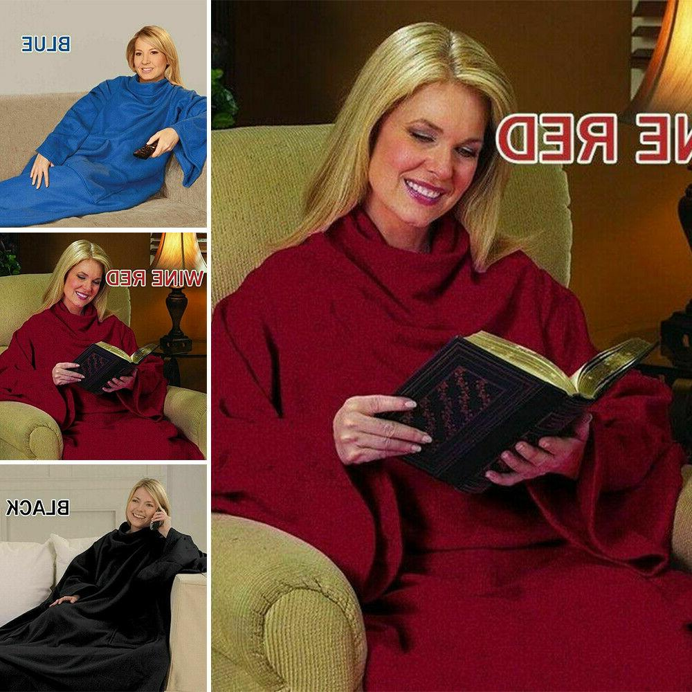 Snuggie Fleece Blanket Sleeves Soft Blankets Throws