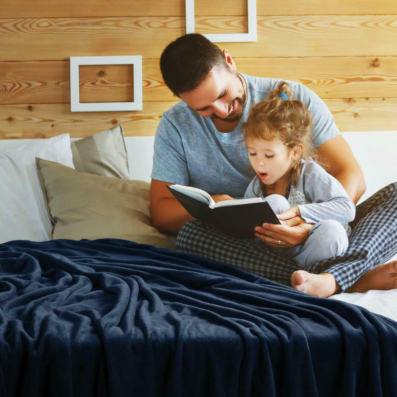 Bedsure Blanket Throw Size Navy Lightweight Super Soft Cozy