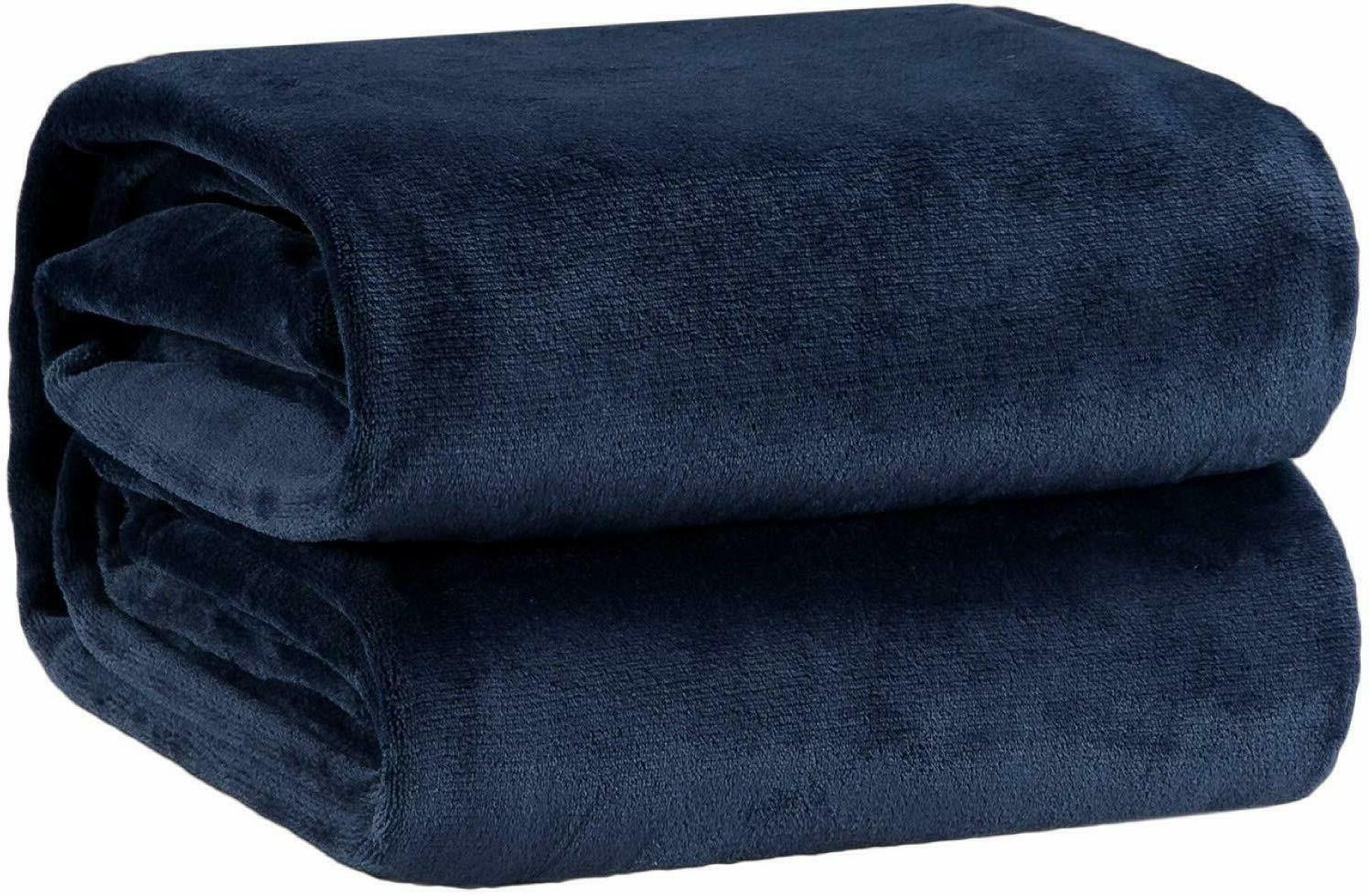 fleece blanket throw size navy lightweight super