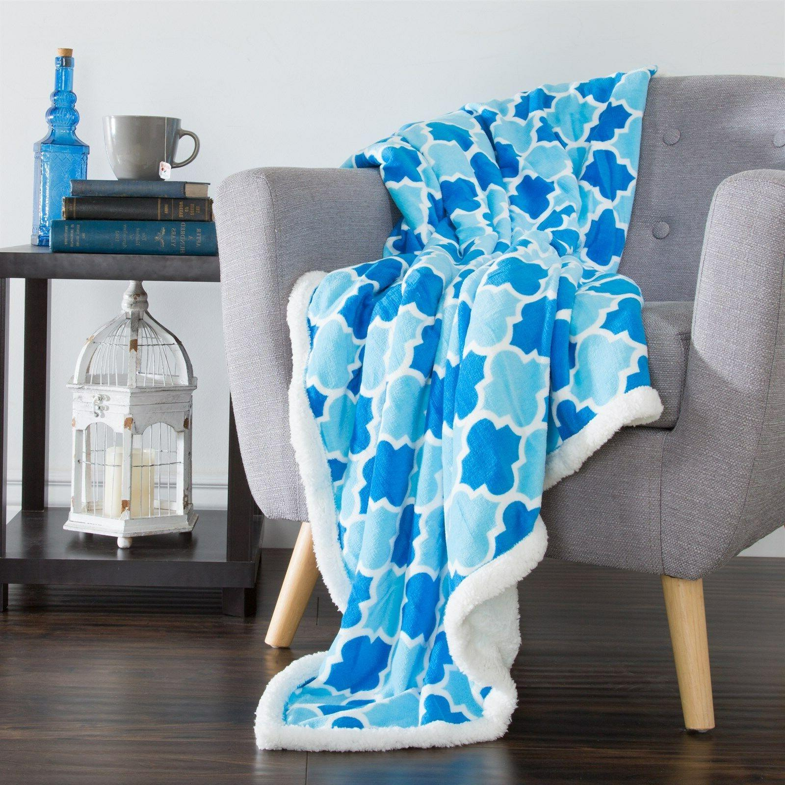 Lavish Home Fleece Sherpa Blue Colors Throw Blanket 50 x 60