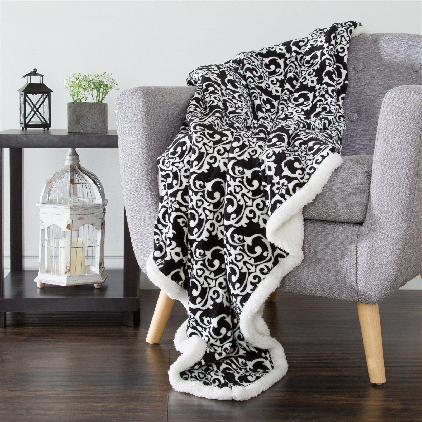 Lavish Home Fleece Sherpa Throw Blanket 50 x 60 Inches