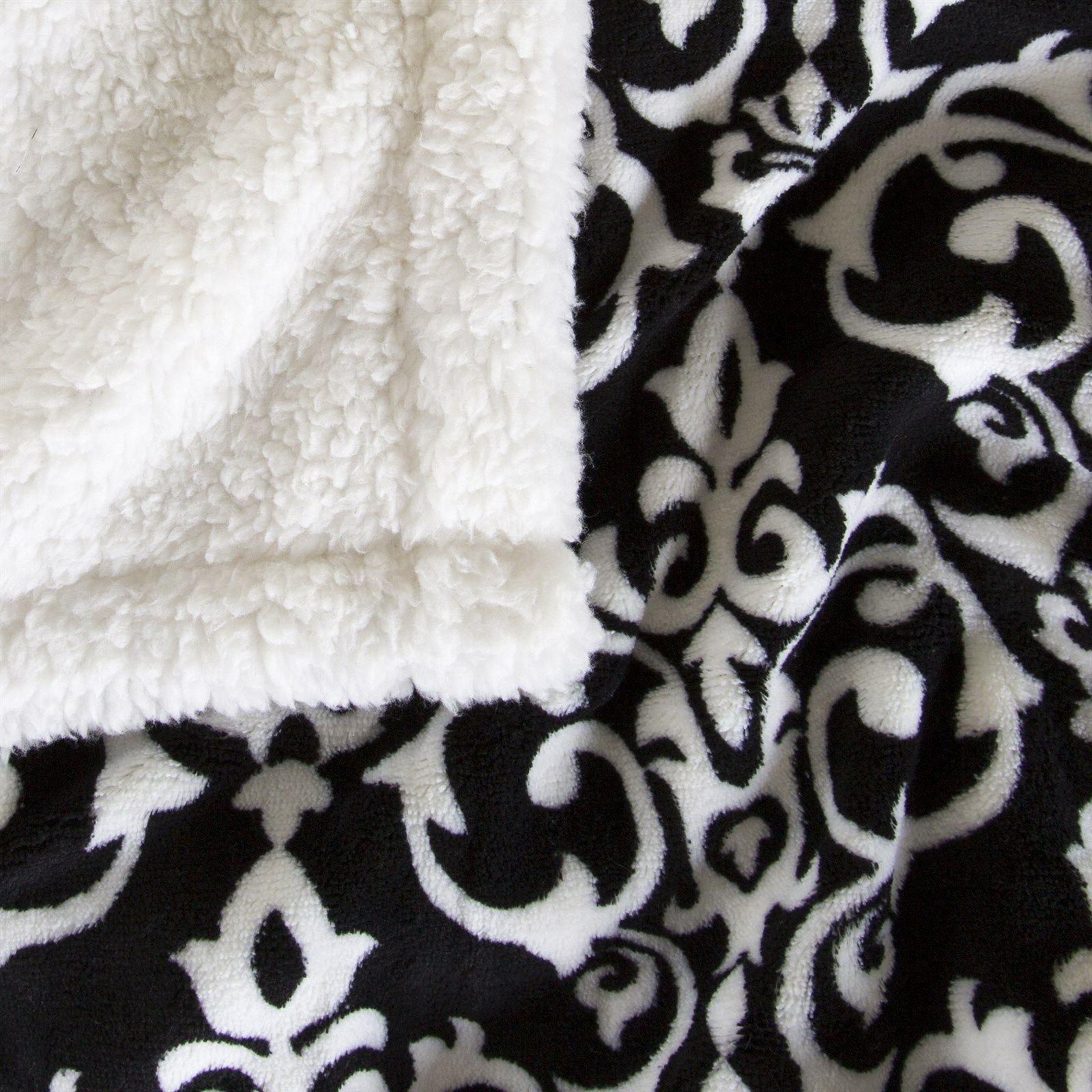 Lavish White and Black Damask Throw Blanket 50