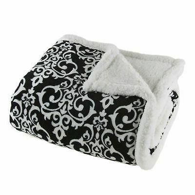 fleece sherpa white black damask