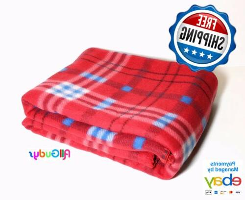 fleece throw 50x60 inches blanket red blue