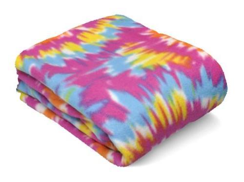 Fleece 50x60 Blanket Tie Colorful Pink Blue