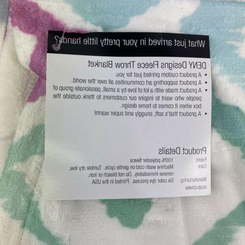 DENY Fleece Throw Blanket 40 x 30 Inches Amy Ikat 2