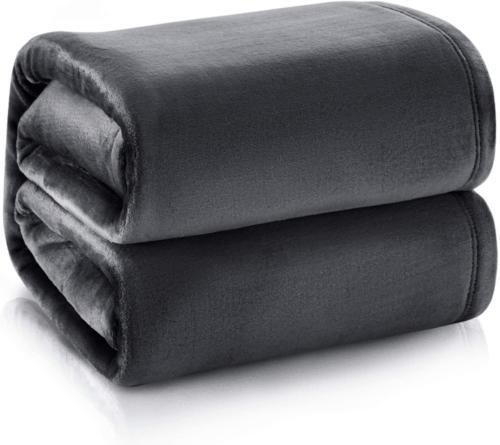 Bedsure Fleece Throw Size Dark Grey Lightweight Microfiber B