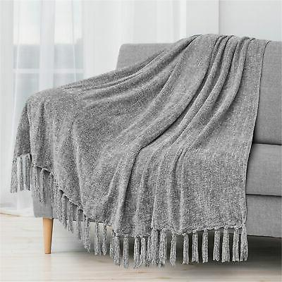 fluffy chenille knitted throw blanket decorative fringe