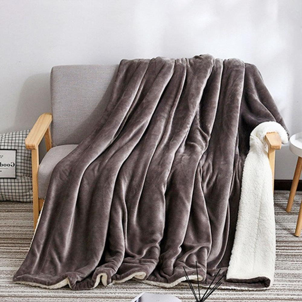 <font><b>Reversible</b></font> Thicken Super Soft Fur Housewarming Bed <font><b>Blanket</b></font> Warm