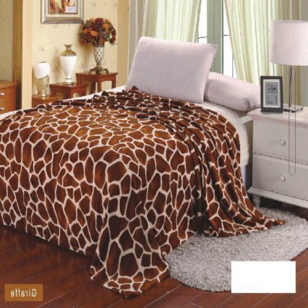 Giraffe Animal Print Blanket Bedding Throw Fleece King Super