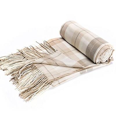 grey and white plaid fringed cashmere shawl