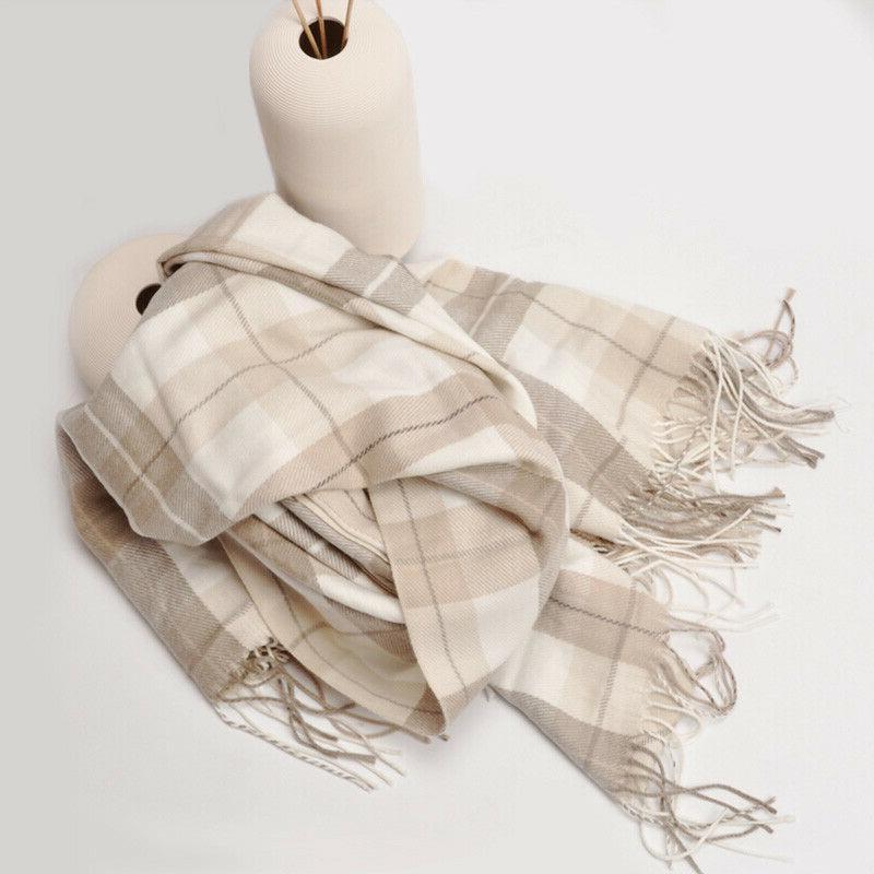 grey white plaid fringed cashmere