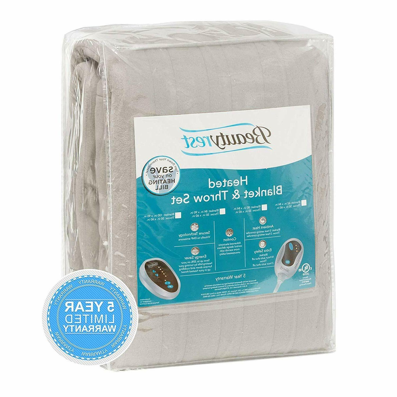 "Beautyrest Heated Fleece Blanket 84"" x Throw Combo"