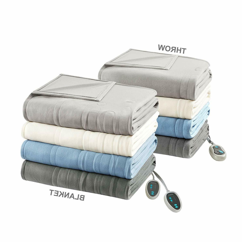 "Beautyrest Blanket 84"" x and Throw Combo Set Tan"