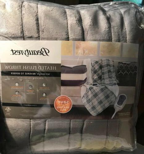 heated plush throw 60 x 70 gray