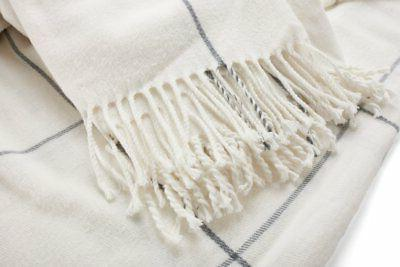 Arus Collection Plaid Design Throw Off-White