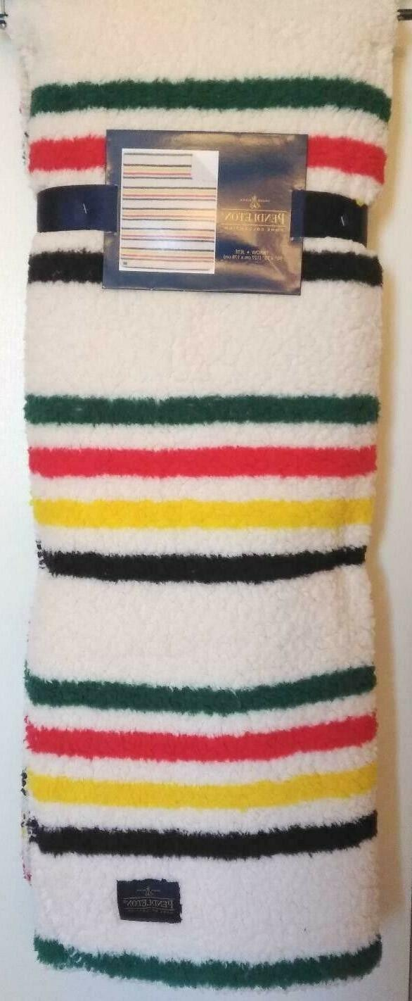 home collection striped sherpa fleece throw blanket