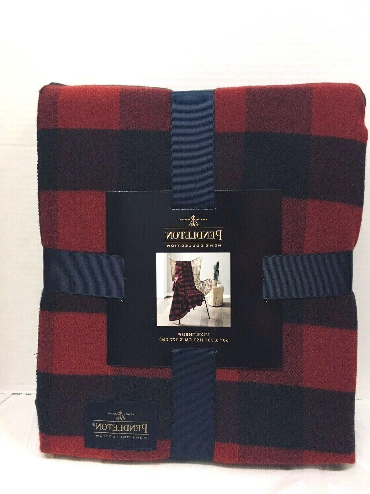 home luxe red navy blue color throw