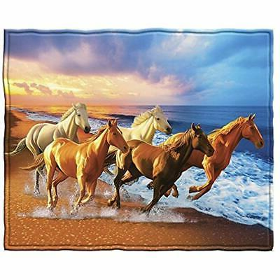 "Horses On The Beach Fleece Throw Blanket Home "" Kitchen"
