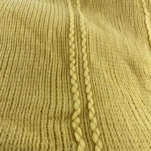 Battilo Inc Cable Knit Luxary Blanket Tassel 50X60 Yellow