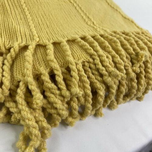 Battilo Knit Luxary Throw Blanket Tassel