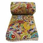 Indian Cotton Kantha Stitch Quilt Bedspread Twin size Floral