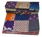 Indian Handmade Patchwork Twin Cotton Kantha Quilt Throw Bla