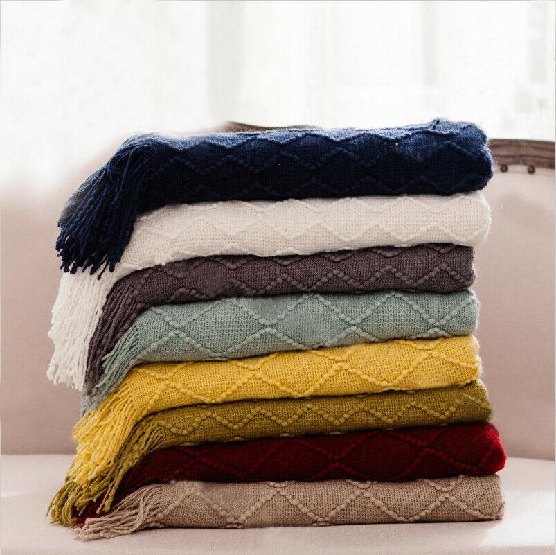 battilo Knit Diamond Pattern Decorative Sofa Bed Couch Throw