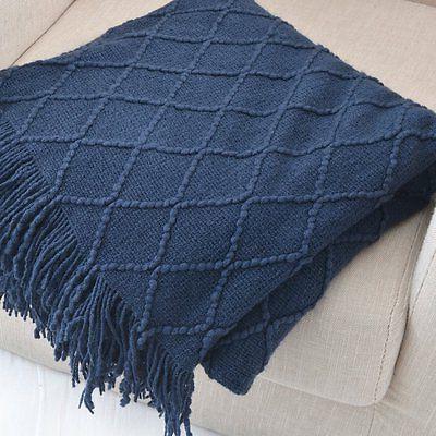 """Battilo Knit Decorative 50"""" W Navy"""