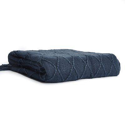 """Battilo Knit Diamond Decorative Blanket, 50"""" W By Navy"""