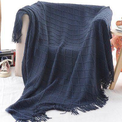 """Battilo Decorative Throw Blanket, W By 60"""" L, Navy"""