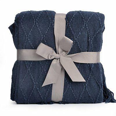 "Decorative Blanket, W 60"" Navy"