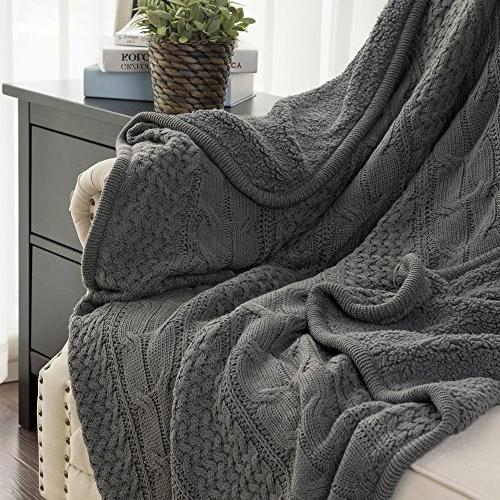 Bedsure Sherpa Throw Blanket Grey Knit-Sherpa Rustic Home Blanket