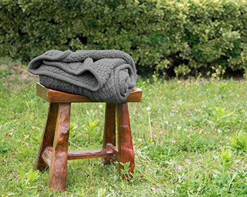 Blanket Grey Knit-Sherpa 50x60 Rustic Decor Blanket