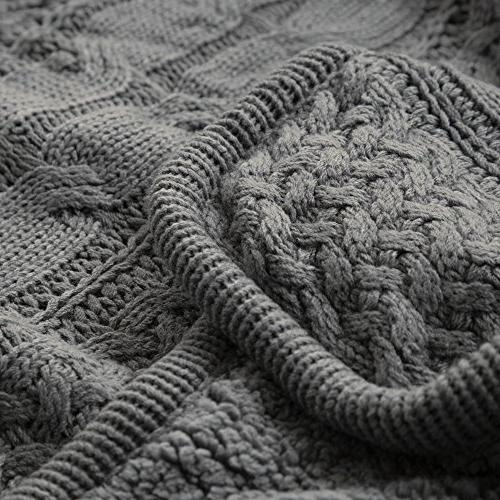 Bedsure Knitted Blanket Grey 50x60 Rustic Home Decor Blanket