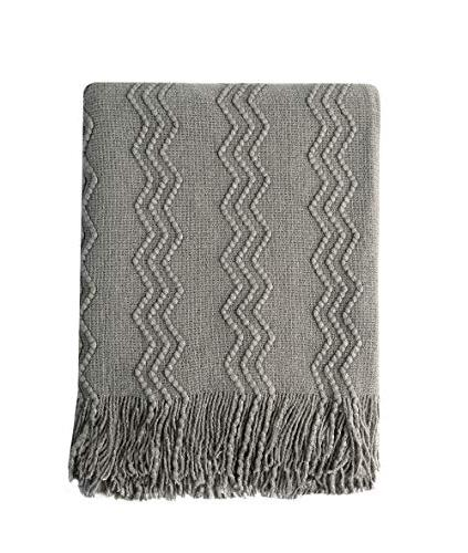 knitted textured solid soft throw