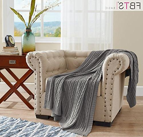 FBTS Blanket x Inch Cable Extra Soft Couch Sofa