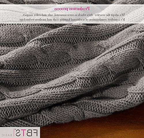 FBTS Knitted Throw Blanket x 67 Inch Cable Couch Bed by